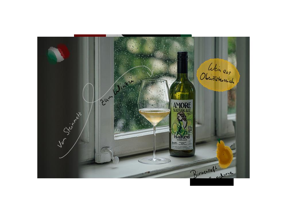 Eine Flasche Amore Naturale GV von Armin Kienesbergers Weingut Casa Amore.